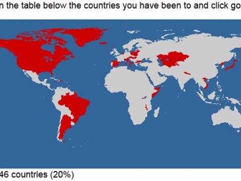 自分が行った国をまとめてマップにできるサイトが人気