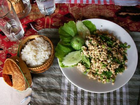 ラオス人「ガパオをもち米と一緒に食べると美味しいよ」