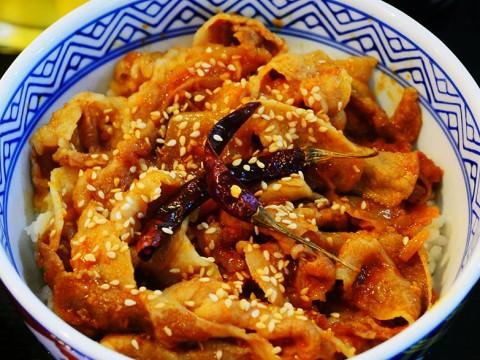 【絶品】吉野家の「スパイシー豚丼」が激しく美味しい件 / 唐辛子が丸ごと盛られている激辛志向
